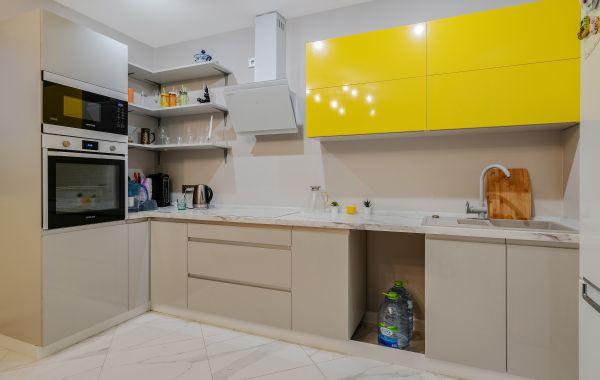 Кухня МШ2136 ПЛТ ПОСТ-5 Серый глянец/Желтый глянец