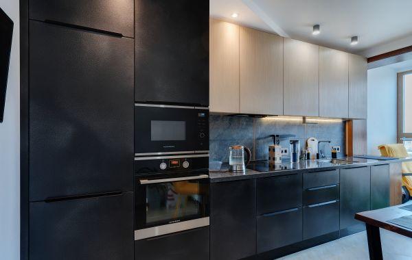 Кухня ХМ437 МДФ Эмаль Система Экобетон Черный