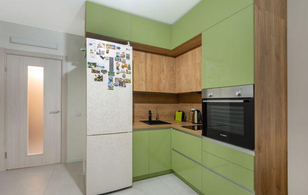 Кухня АМ402 ПОСТ 5 Оливковый F 3007 GLS МДФПВХ Система Дуб классик Синкро