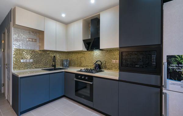Кухня КА1009 Акрил 5 Сливки TopMatt, Акрил 8 Серо-синий NTM