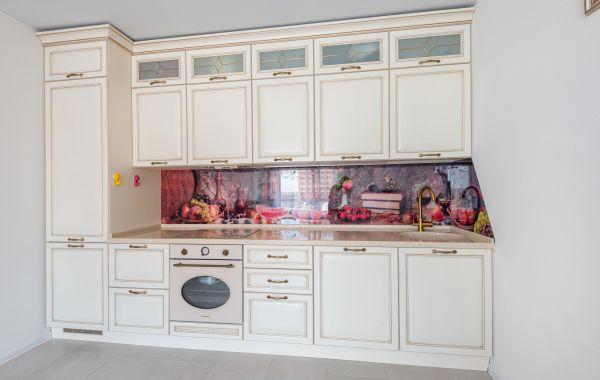 Кухня АМ474 МДФ Лоренцо ПП Ванильный Латунь