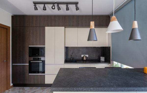 Кухня ПДЛ346 Тимбер Сепия/Акрил 5 Сливки мат